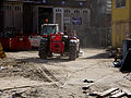 Building activities with dust around the renovation of the tram depot of remise Tollensstraat in Amsterdam-West, 2014 Renovatie-werkzaamheden aan de tramremise Tollenstraat in de Kinkerbuurt, Amsterdam..jpg
