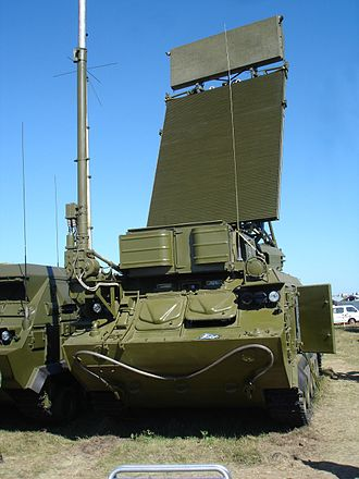 Buk missile system - A Buk-M1-2 SAM system 9S18M1-1 Tube Arm target acquisition radar (TAR) on 2005 MAKS Airshow