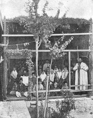 Bukharan Jews - Bukharan Jews celebrating Sukkot, c. 1900.