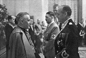 Reorganization of occupied dioceses during World War II - Cesare Orsenigo (left, with Hitler and von Ribbentrop), nuncio to Germany, also served as de facto nuncio to Poland.