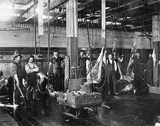 Patrick Burns (businessman) - An interior view of the Burns meat packing plant in the early 1900s