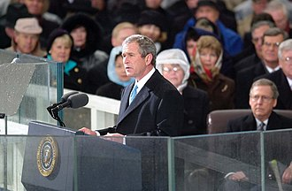 Timeline of the presidency of George W. Bush - President George W. Bush delivers his first inaugural address, January 20, 2001
