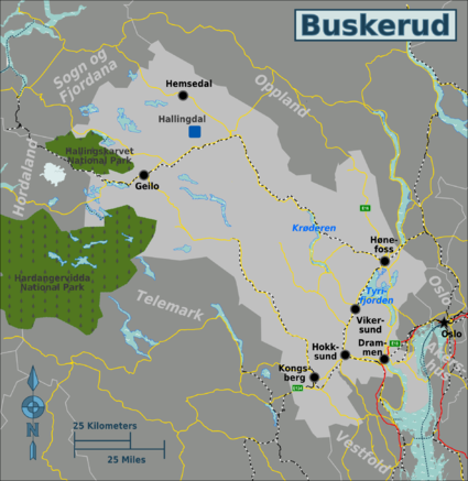 Buskerud Travel Guide At Wikivoyage - Norway valdres map