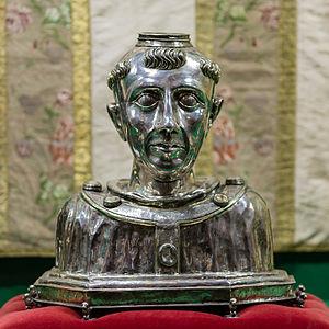 Tysilio - Reliquary bust of Saint Tysilio in Sizun, France.