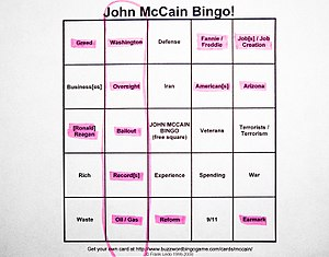 Buzzword bingo - John McCain buzzword bingo from the 2008 presidential election
