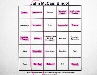 Buzzword bingo - John McCain buzzword bingo from the 2008 presidential election