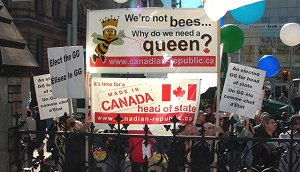 Republicanism in Canada - A demonstration on Parliament Hill by members of Citizens for a Canadian Republic during the installation ceremony of Governor General of Canada Michaëlle Jean, 2005