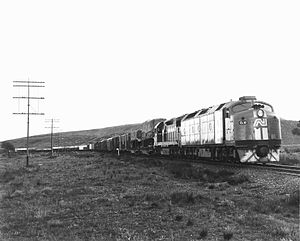 Trans-Australian Railway - CL10 and L266 with an east-bound freight train near Parkeston in 1987