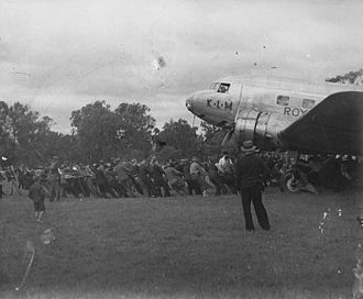Albury - The Uiver being pulled out of the mud after its emergency landing in Albury in 1934