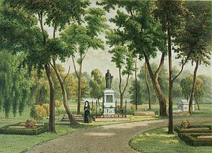 Taman Prasasti Museum -  Colour lithograph from an original watercolor by Rappard. The European cemetery Kerkhof Laan in Tanah Abang with the monument of the priest Van der Grinten in 1881-1889