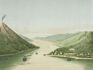 Banda Neira - View of Bandanaira (lithograph based on a painting by Josias Cornelis Rappard, 1883-1889)