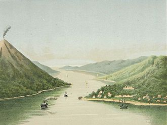Banda Neira - View of Bandanaira (lithograph based on a painting by Josias Cornelis Rappard, 1883-1889)