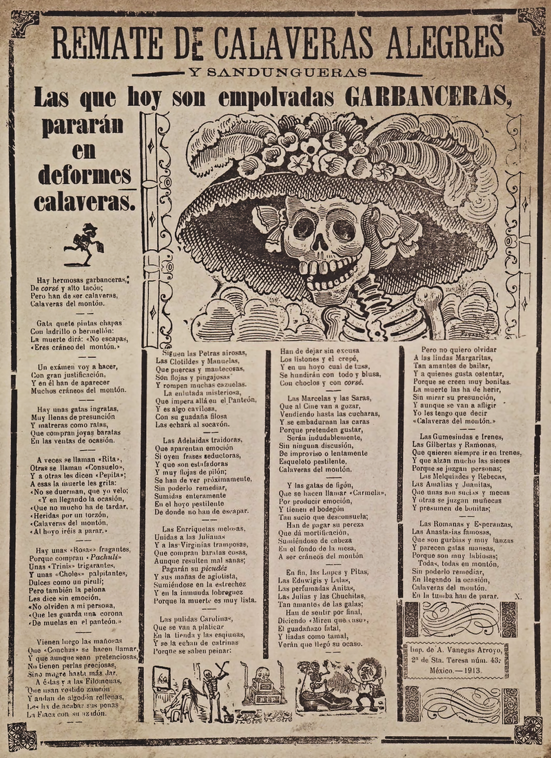 La Catrina - La Calavera Garbancera di Jose Guadalupe Posada
