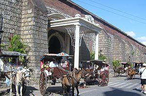 Kalesa - Kalesas parked in front of Vigan Cathedral.