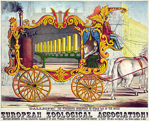 "Calliope (music) - ""Calliope, the wonderful operonicon or steam car of the muses"" – advertising poster, 1874"