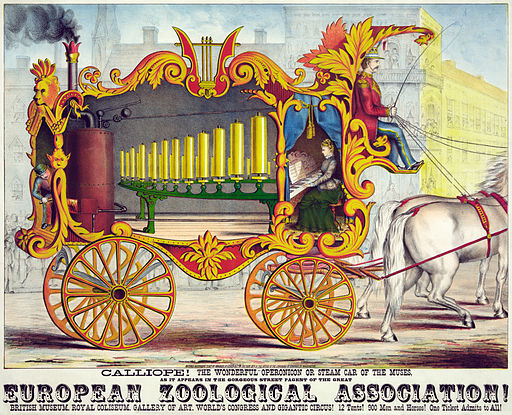 Calliope, the wonderful operonicon or steam car of the muses, advertising poster, 1874