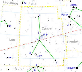 Alpha Cancri star system in the constellation Cancer