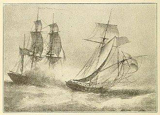 Roberto Cofresí - Early 20th-century illustration of the capture of Cofresí's flagship, the sloop Anne (right)