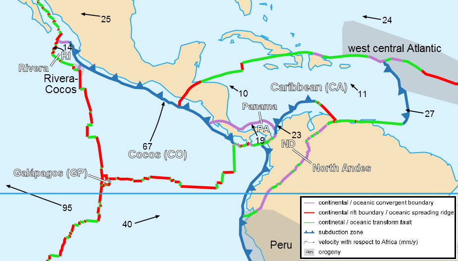 Caribbean plate tectonics-en