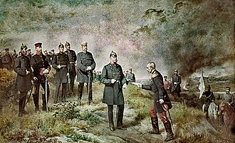 Battle of Sedan - A mural painted in 1884 by Carl Steffeck depicts General Reille delivering Napoleon III's letter of surrender to King William I at the Battle of Sedan on 1 September 1870. It was at the former Ruhmeshalle in Berlin and was destroyed by bombs during World War II.