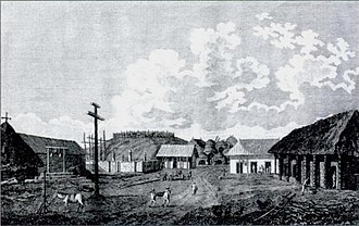 Carmel-by-the-Sea, California - Early mission settlement after relocation to Carmel as depicted by John Sykes in 1794
