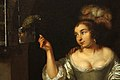 Caspar Netscher - A Lady with a Parrot and a Gentleman with a Monkey (1664) detail 01.jpg