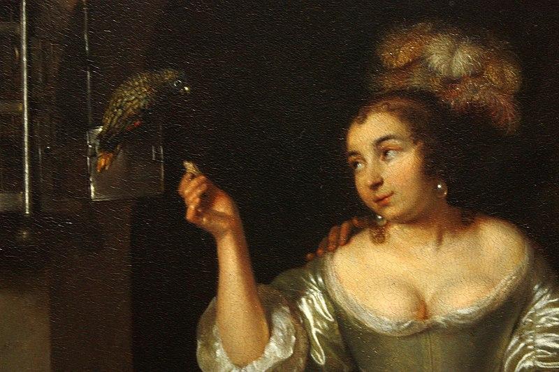 File:Caspar Netscher - A Lady with a Parrot and a Gentleman with a Monkey (1664) detail 01.jpg