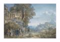 Cassas Archéologues examinant un bas-relief aux abords de la ville d'Athènes.png
