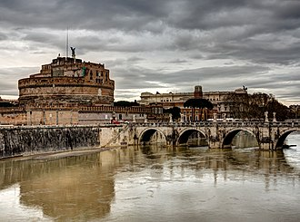Roman funerary art - Castel Sant'Angelo, the Mausoleum of Hadrian; the Aelian Bridge is on the right, leading directly to the Pons Aelius, also the work of Hadrian.