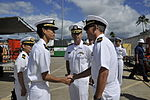 Cdr M. Watanabe of JMSDF shakes hands with a U.S. Navy officer at Pearl Harbor, -Oct. 2012 (DB801-102).jpg
