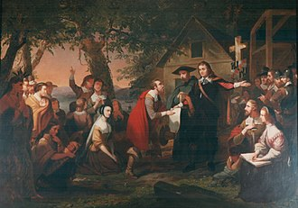 William Stone (Maryland governor) - Catholic noble, Cecil Calvert, presenting the official document, of the 1649 Acts of Toleration, to the first Protestant, Maryland colonial governor, William Stone, who proclaimed religious protection, to  Puritans, in the Province of Maryland