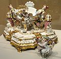 Centerpiece and Stand with Pair of Sugar Caster and Oil or Vinegar Cruet, view 1, c. 1737, Meissen Porcelain Manufactory, modeled by Johann Joachim Kandler - Art Institute of Chicago - DSC09996.JPG