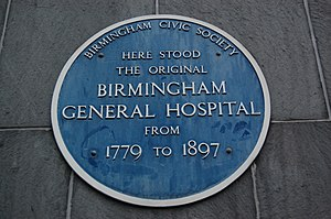 Birmingham General Hospital - A blue plaque on Centro House