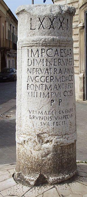 Vicarello Cups - Roman milestone in Cerignola, Italy