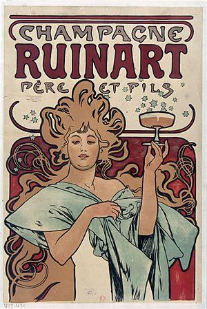 Ruinart (Champagne) - Poster by Alphonse Mucha (1896).