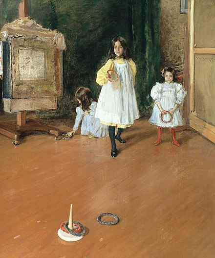 A painting of children playing a ring toss game indoors Chase William Merritt Ring Toss 1896.jpg