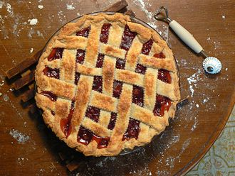 Cherry pie - A homemade cherry pie with a lattice top