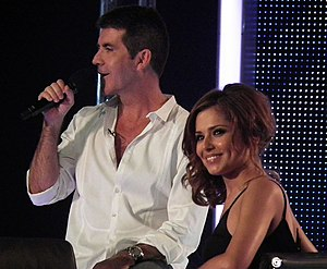 The X Factor (UK TV series) - Judges Simon Cowell and Cheryl Cole during filming of the London auditions for series 7