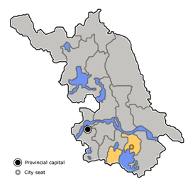 Location o Wuxi Ceety jurisdiction in Jiangsu