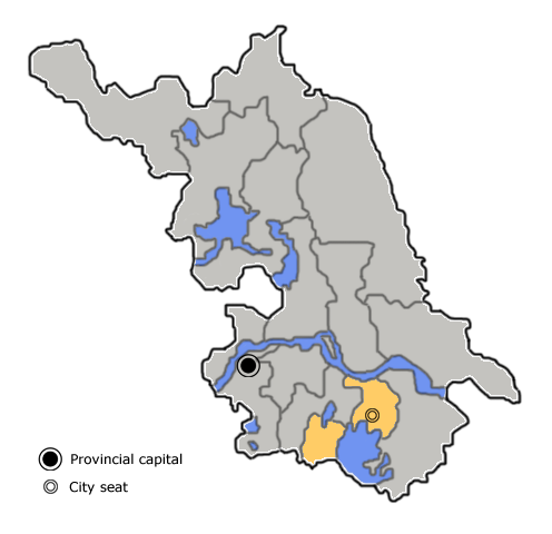 Location of Wuxi City jurisdiction in Jiangsu