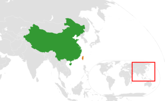 Foreign policy of China - Mainland China and Taiwan on a map
