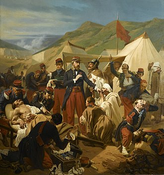 Military medicine - Two French military surgeons treating wounded enemies after the battle of Inkermann, November 5, 1854.