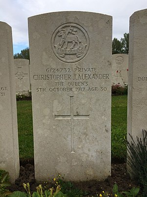 Christopher James Alexander - Christopher James Alexander's grave in Hooge Crater Cemetery.