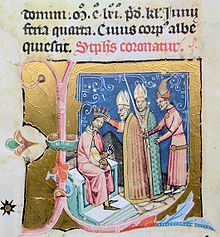 Couronnement d'Étienne III miniature du Chronicon Pictum, 1358