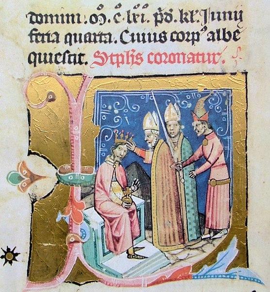 Fájl:Chronicon Pictum P121 III. István koronázása.JPG