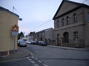 Abercanaid - A church and road junction in Abercanaid