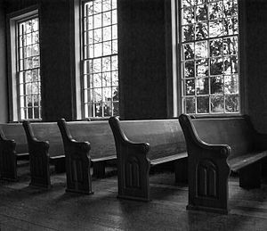 Mooresville, Alabama - Image: Church pews, Old Brick Church, Mooresville, AL, image by Marjorie Kaufman 01