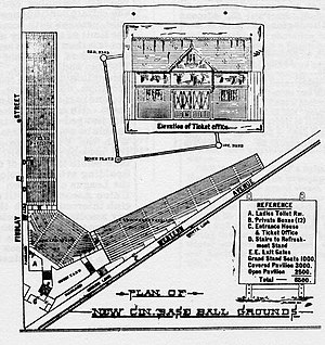 League Park (Cincinnati) - Seating chart of the ballpark in 1884