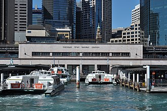 Circular Quay railway station - Circular Quay railway station in 2016, looking north from the harbour