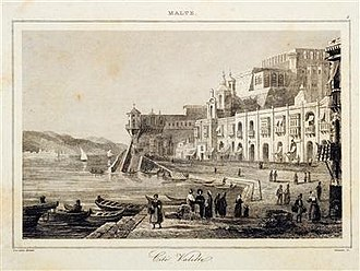 Ġnien is-Sultan - An 1848 engraving of the Valletta Marina, with the garden instead of Lascaris Battery